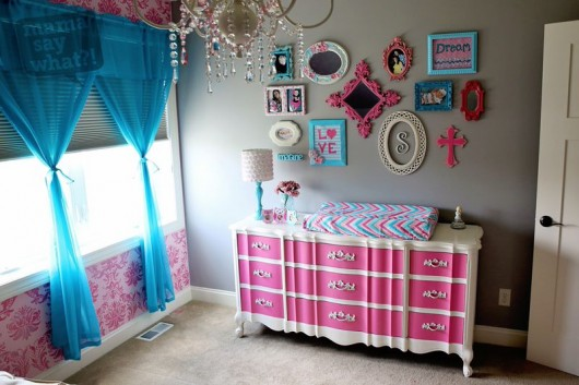 A Pink And Teal Nursery With Gabrielle Damask Stenciled Accent Wall Http