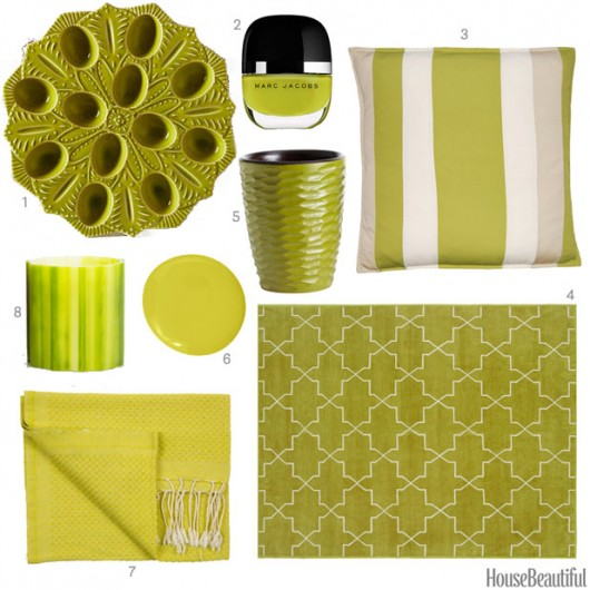 Chartreuse home decor accessories spotted on House Beautiful.