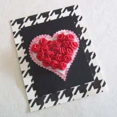 A DIY houndstooth stenciled card using a card size stencil. http://www.cuttingedgestencils.com/houndstooth-card-making-stencil-template.html