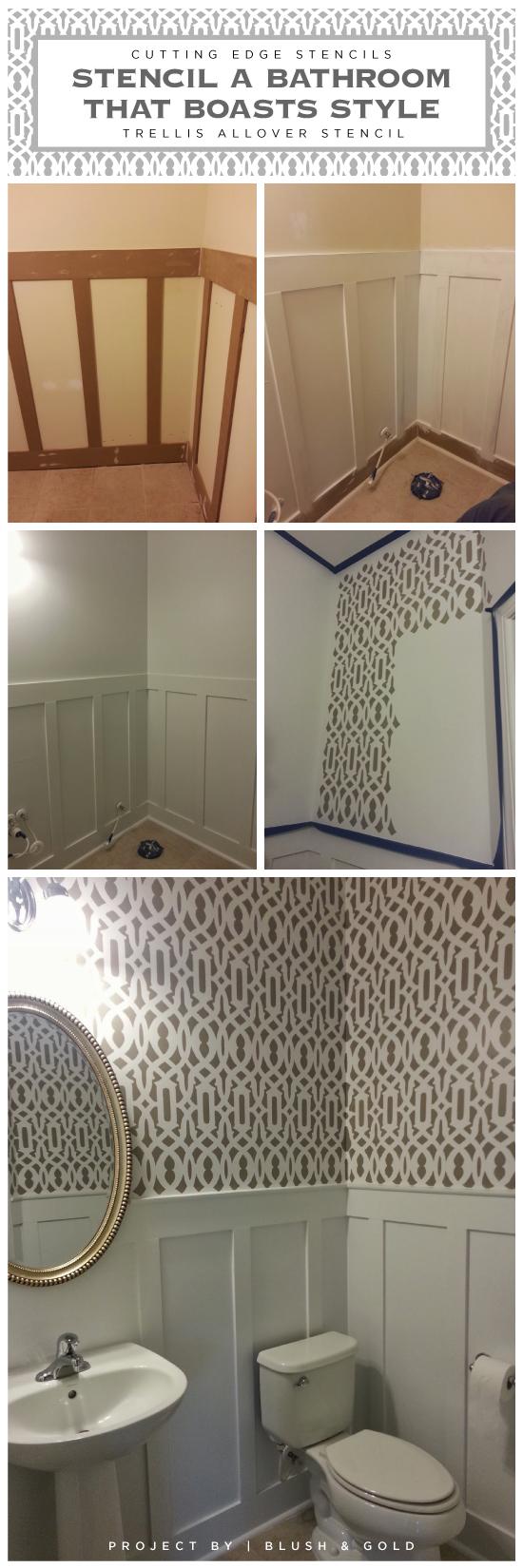 A DIY stenciled bathroom featuring the Trellis Allover pattern for a wallpaper look. http://www.cuttingedgestencils.com/allover-stencil.html