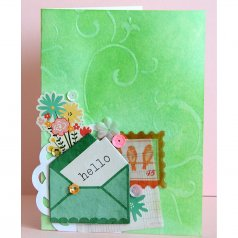 A scrapbook style card using the Lily Scroll stencil. http://www.cuttingedgestencils.com/lily-scroll-card-craft-stencil.html