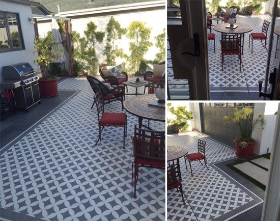 A DIY stenciled patio using the Nagoya Allover Stencil. http://www.cuttingedgestencils.com/japanese-stencil-nagoya.html