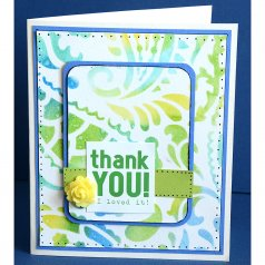 A DIY scrapbook style card using the Paisley Card stencil. http://www.cuttingedgestencils.com/paisley-card-stencils-template-crafts-scrapbooking.html