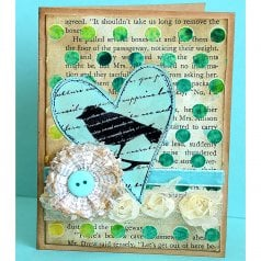 A DIY scrapbook style card using the Polka Dot card stencil. http://www.cuttingedgestencils.com/polka-dot-scrapbooking-craft-card-making-sencil.html