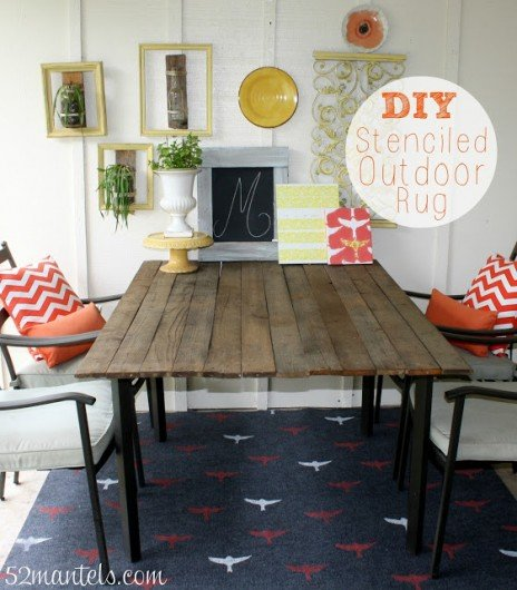 A DIY stenciled rug using the Bird Stencil. http://www.cuttingedgestencils.com/bird-stencils-bird.html