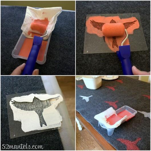 A DIY stenciled rug tutorial using the Bird Stencil. http://www.cuttingedgestencils.com/bird-stencils-bird.html