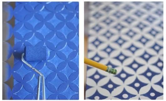 A DIY bone inlay inspired dresser using the Nagoya Stencil on a Koppang Chest. http://www.cuttingedgestencils.com/japanese-stencil-nagoya.html