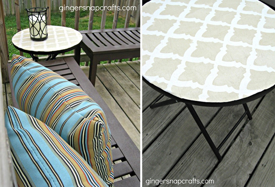 A DIY stenciled outdoor table using the Turkish Tulip stencil pattern. http://www.cuttingedgestencils.com/moroccan-stencil-tulip.html