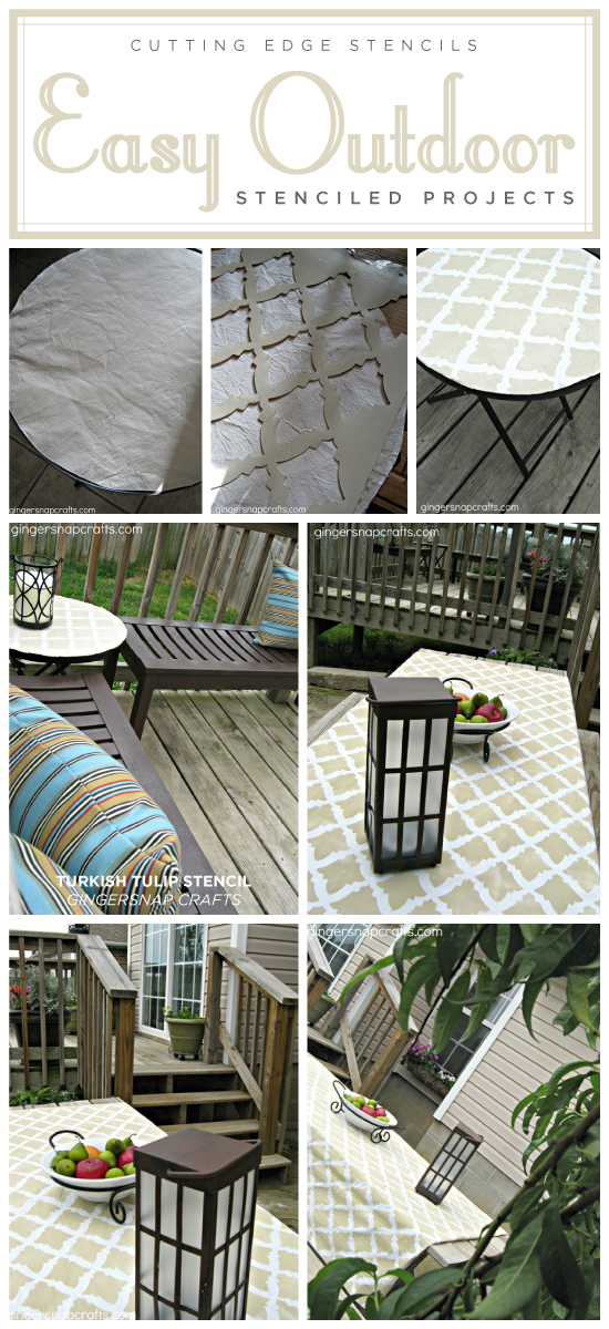 A DIY stenciled outdoor tablecloth using the Turkish Tulip stencil pattern. http://www.cuttingedgestencils.com/moroccan-stencil-tulip.html