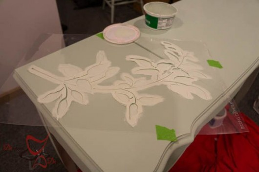 Stenciling a vanity dressing table using the Budding Clematis Stencil Kit 3pc. http://www.cuttingedgestencils.com/vine-stencils.html