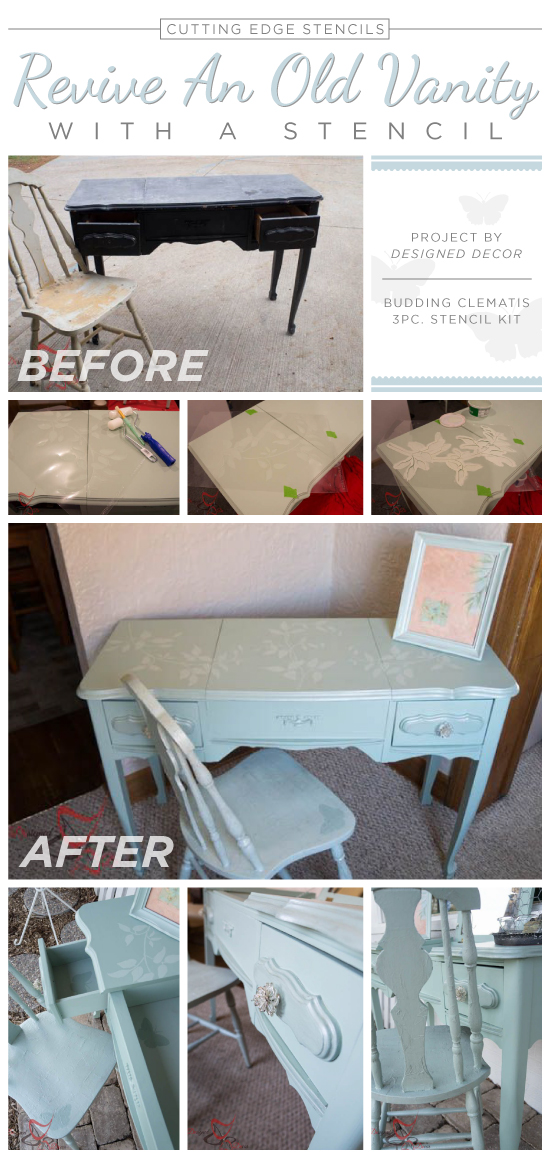 A DIY stenciled vanity using the Budding Clematis Kit 3pc. http://www.cuttingedgestencils.com/vine-stencils.html