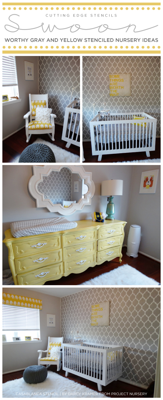 Swoon Worthy Yellow And Gray Stenciled Nurseries Stencil