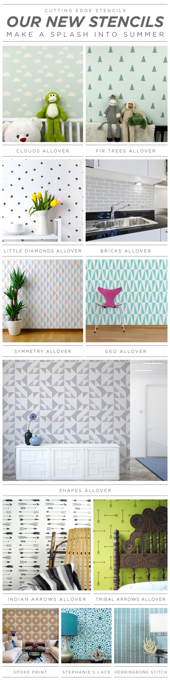 New wall stencil patterns from Cutting Edge Stencils. http://www.cuttingedgestencils.com/wall-stencils-stencil-designs.html