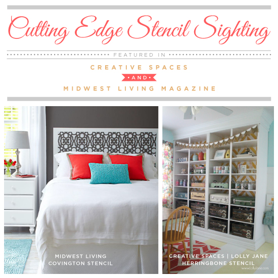 DIY stencil projects using Cutting Edge Stencils geometric stencil patterns were featured in Creative Spaces and Midwest Living Magazine.http://www.cuttingedgestencils.com/herringbone-stencil-pattern.html