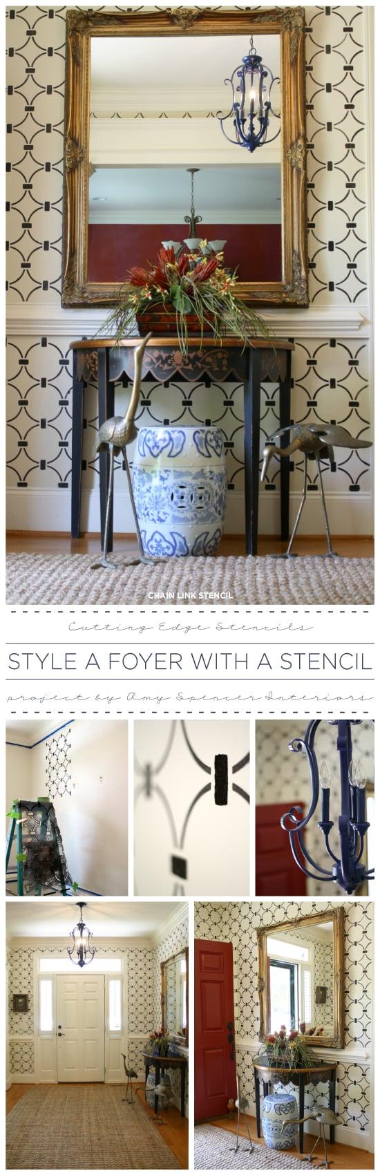 A DIY stenciled foyer using the Chain Link Allover stencil pattern. http://www.cuttingedgestencils.com/link-stencil-pattern.html