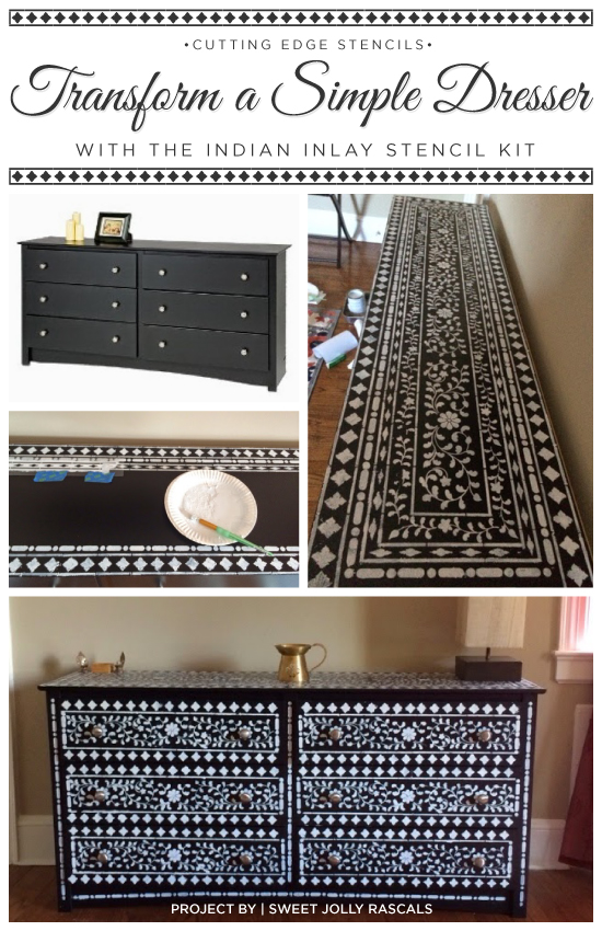 A DIY stenciled dresser using the Indian Inlay stencil kit from Cutting Edge Stencils. http://www.cuttingedgestencils.com/indian-inlay-stencil-furniture.html