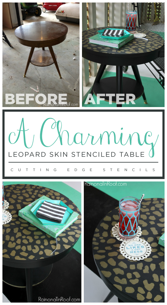A DIY stenciled side table using the Leopard Skin Allover pattern. http://www.cuttingedgestencils.com/leopard-pattern-animal-skin-stencil.html