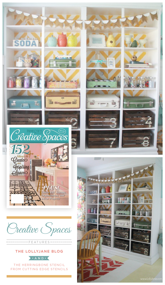A DIY stenciled bookcase using the Herringbone Stencil in yellow spotted in Creative Craft Spaces Magazine. http://www.cuttingedgestencils.com/herringbone-stencil-pattern.html