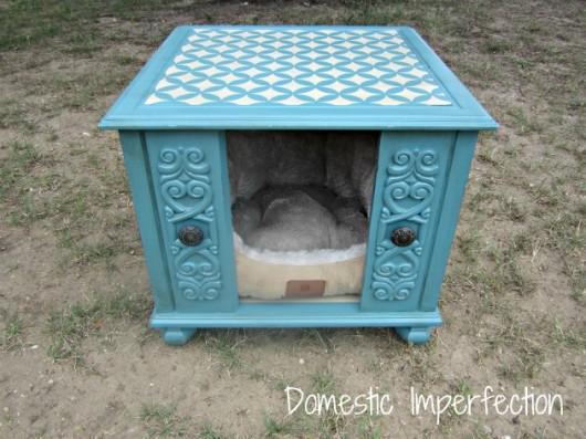 A DIY stenciled end table that was transformed into a dog house. http://www.cuttingedgestencils.com/nagoya-furniture-stencil.html