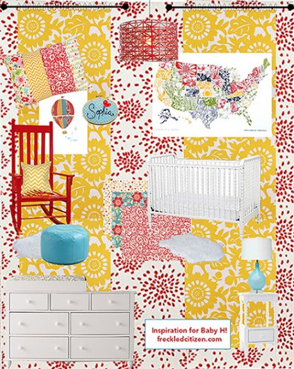 A nursery inspiration board includes a stenciled accent wall. http://www.cuttingedgestencils.com/sari-paisley-allover-stencil.html
