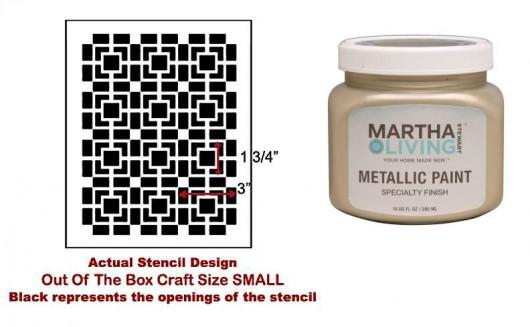 Outside of the Box Stencil and Martha Stewart gold paint. http://www.cuttingedgestencils.com/geometric-small-stencil.html