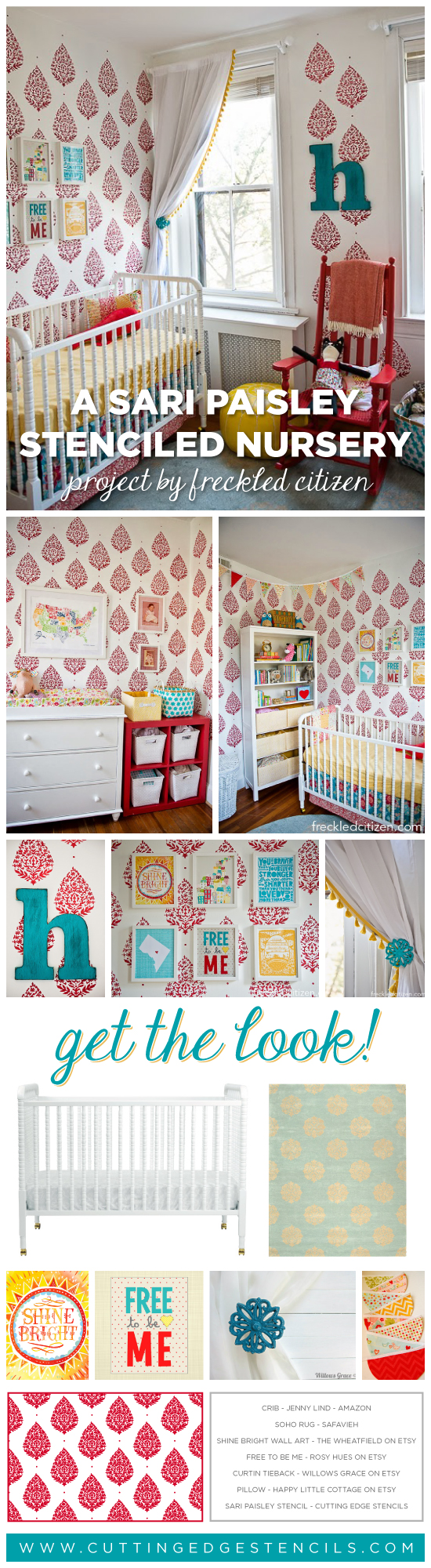 A DIY stenciled nursery featuring our Sari Pasiley pattern.. http://www.cuttingedgestencils.com/sari-paisley-allover-stencil.html