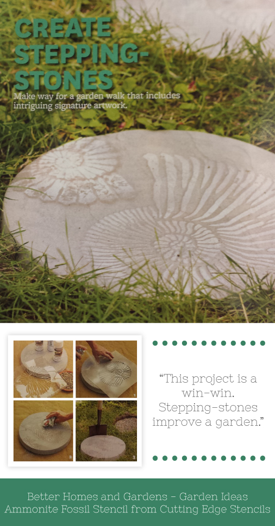 A DIY garden idea using the Ammonite Fossil Stencil to decorate stepping stones. http://www.cuttingedgestencils.com/wall-stencil-shell.html