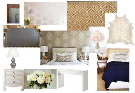 A beige tonal bedroom idea which includes a stenciled feature wall. http://www.cuttingedgestencils.com/beads-wall-stencil-pattern.html