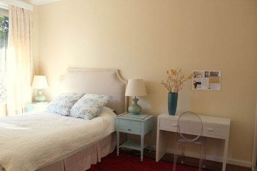 A beige bedroom before its stenciled feature wall. http://www.cuttingedgestencils.com/beads-wall-stencil-pattern.html