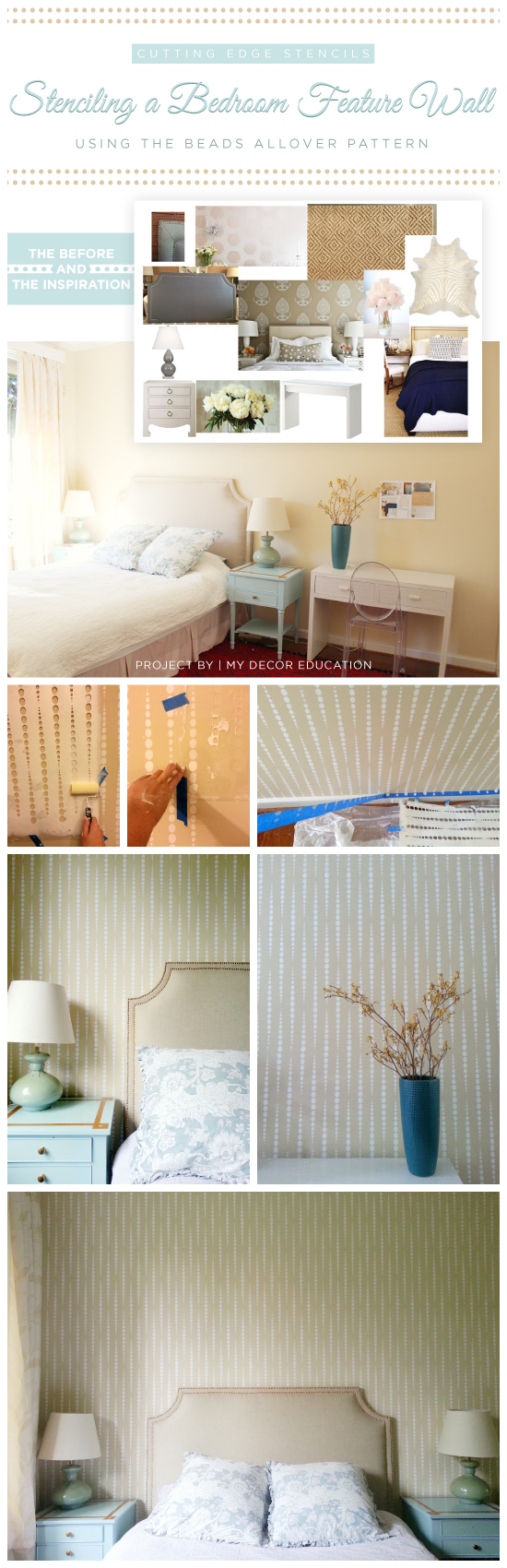 Cutting Edge Stencils shares a DIY stenciled bedroom using the Beads Allover pattern. http://www.cuttingedgestencils.com/beads-wall-stencil-pattern.html