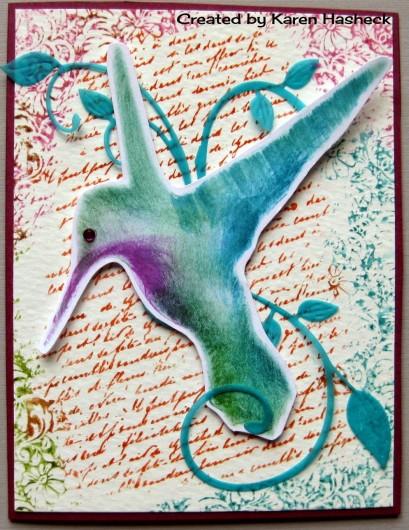 Hummingbird stencil used to create a diy card. http://www.cuttingedgestencils.com/hummingbird-stencil.html