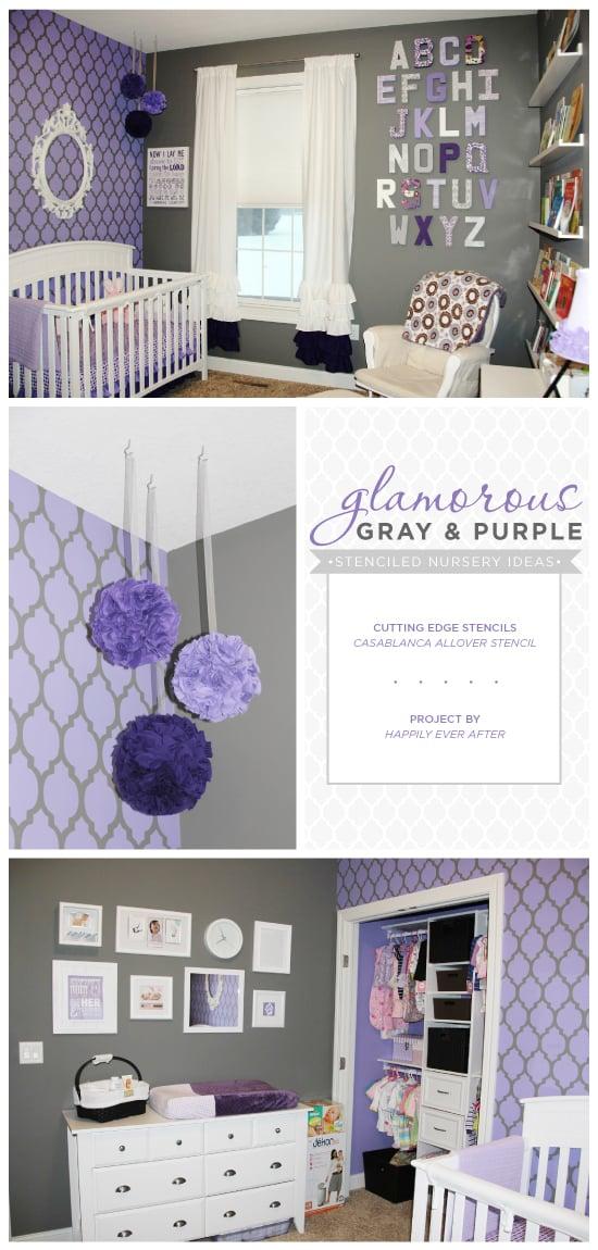 Gray And Purple Stenciled Nursery Ideas