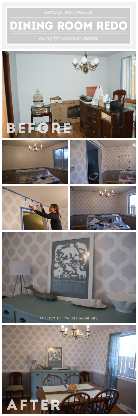 A DIY stenciled dining room using the Cascade Stencil for a wallpaper look. http://www.cuttingedgestencils.com/cascade-allover-stencil-pattern.html