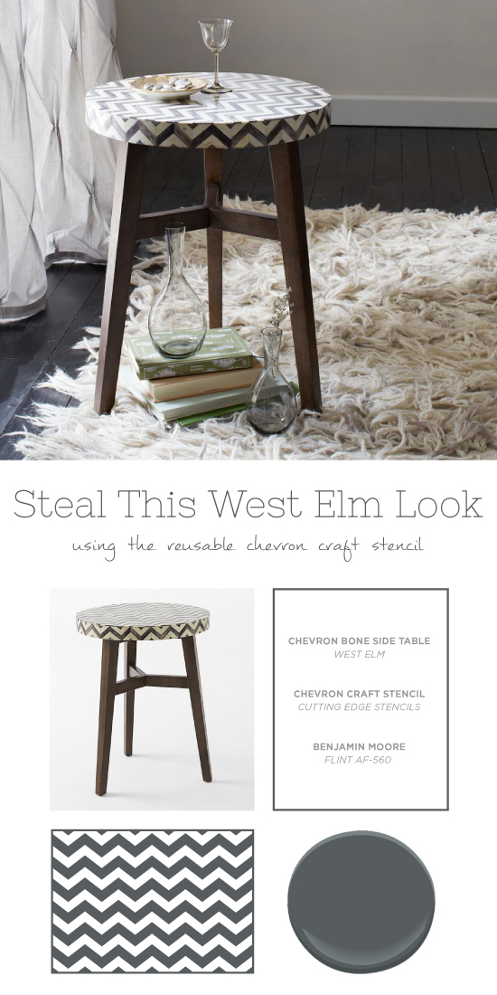 Stencil a stool similar to this West Elm piece using the Chevron Craft Stencil. http://www.cuttingedgestencils.com/chevron-stencil-templates-stencils.html