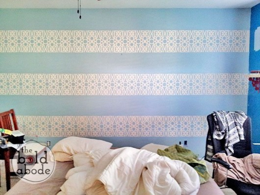 DIY stenciled stripes in a bedroom using the Covington Allover stencil pattern. http://www.cuttingedgestencils.com/stencil-stencils-covington.html
