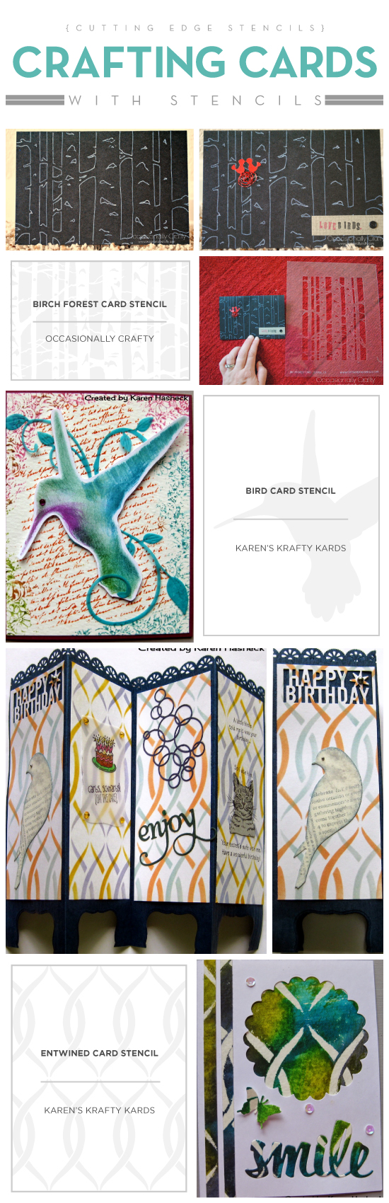 Cutting Edge Stencils shares stenciled card ideas using card stencil templates. http://www.cuttingedgestencils.com/stencil-templates-card-stencils-scrapbooking.html