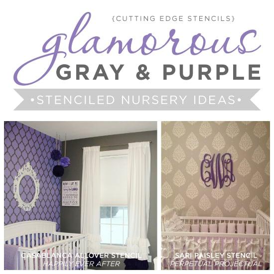 Cutting Edge Stencils shares glamorous gray and purple nursery ideas with stenciled accent walls.http://www.cuttingedgestencils.com/wall-stencils-stencil-designs.html