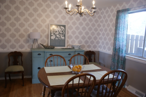 A DIY stenciled dining room using the Cascade Stencil. http://www.cuttingedgestencils.com/cascade-allover-stencil-pattern.html