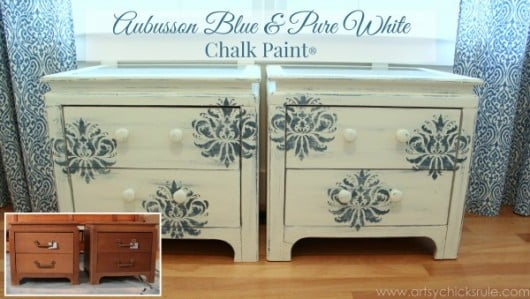 Cutting Edge Stencils shares a DIY nightstand project using the Gabrielle Damask stencil pattern. http://www.cuttingedgestencils.com/damask-stencil-3.html