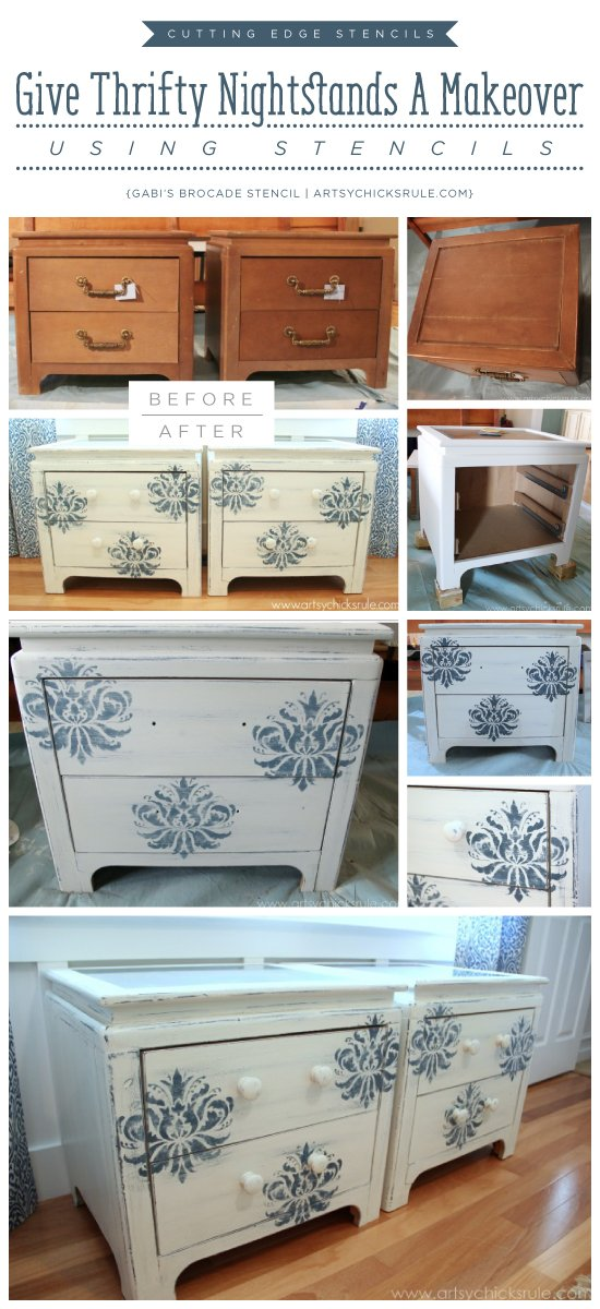 Cutting Edge Stencils Shares A DIY Nightstand Project Using The Gabrielle Damask Stencil Pattern
