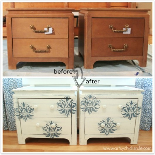 A DIY Stenciled Nightstand Makeover Using The Gabrielle Damask Stencil Pattern