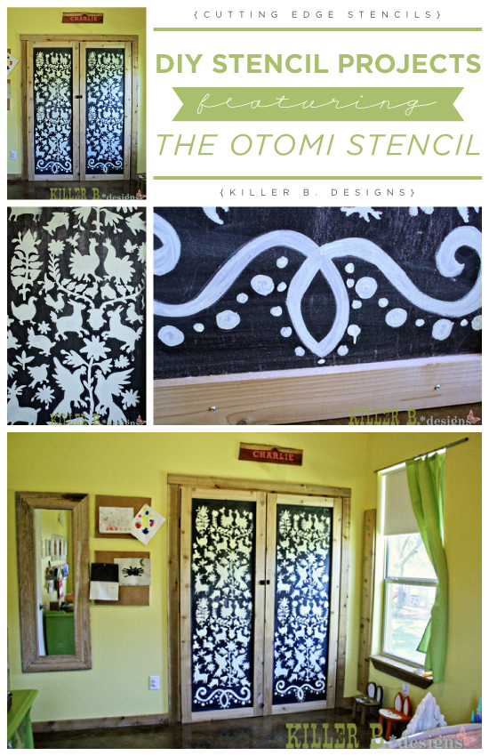 A DIY stenciled chalkboard closet using the Otomi Stencil. http://www.cuttingedgestencils.com/otomi-tribal-wall-pattern-stencil.html