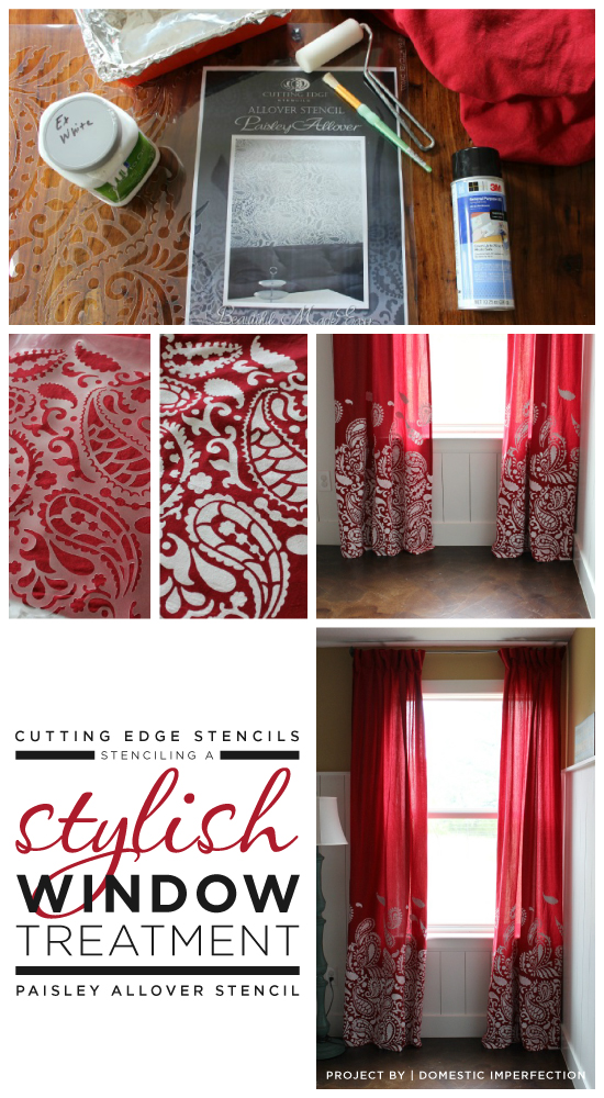DIY red stenciled curtains using the Paisley Allover stencil. http://www.cuttingedgestencils.com/paisley-allover-stencil.html