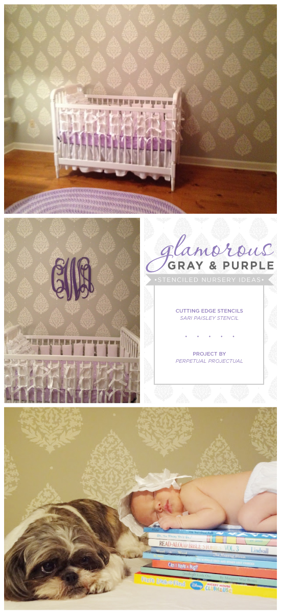 A DIY stenciled nursery accent wall using the Sari Paisley Allover pattern in gray and purple. http://www.cuttingedgestencils.com/sari-paisley-allover-stencil.html