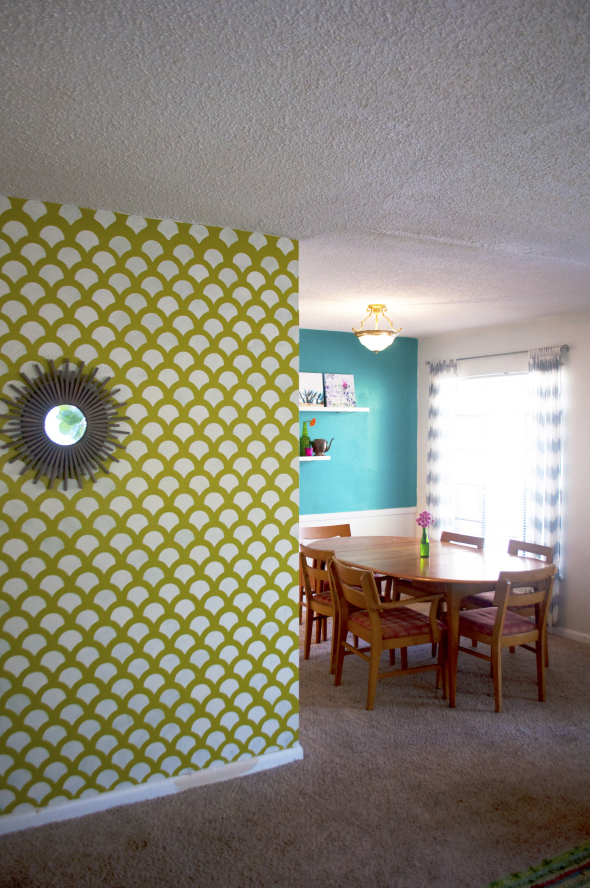 A DIY stenciled accent wall using the Scallop Allover Stencil. http://www.cuttingedgestencils.com/scallop-stencil-for-walls.html