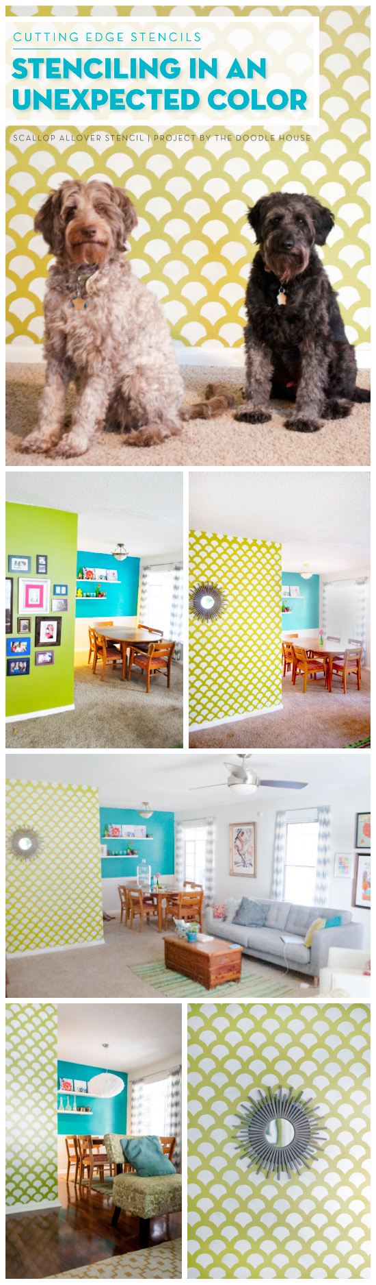 A DIY stenciled accent wall using the Scallop Allover Stencil to look like wallpaper. http://www.cuttingedgestencils.com/scallop-stencil-for-walls.html
