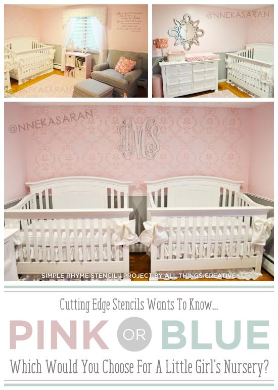 A DIY Simple Rhyme stenciled nursery idea in pink. http://www.cuttingedgestencils.com/simple-stencil-stencils.html