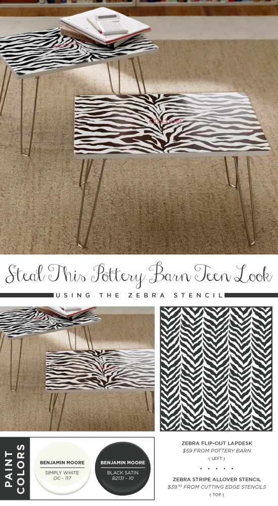 Use the Zebra Allover stencil to recreate this lap desk spotted in Pottery Barn Teen. http://www.cuttingedgestencils.com/zebra-stencil-pattern.html