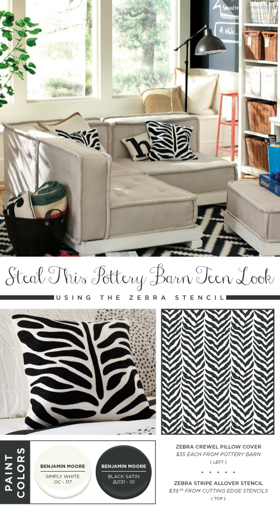 Use the Zebra Allover stencil to recreate this Pottery Barn Teen pillow cover. http://www.cuttingedgestencils.com/zebra-stencil-pattern.html
