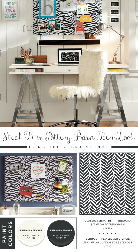 Use the Zebra Allover stencil to recreate this Pottery Barn Teen pinboard as a DIY project. http://www.cuttingedgestencils.com/zebra-stencil-pattern.html